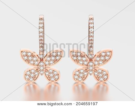 3D illustration two rose gold decorative diamond butterfly earrings with reflection and shadow on a grey background