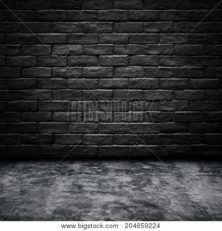 Background of dark room with black bricks wall texture.