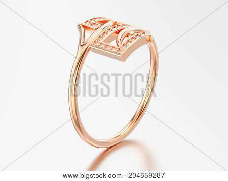 3D illustration rose gold engagement decorative diamond ring with reflection and shadow on a grey background