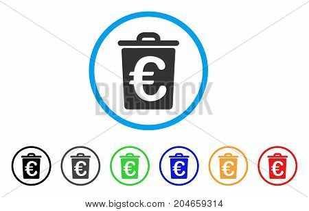 Euro Trash rounded icon. Style is a flat euro trash grey symbol inside light blue circle with black, gray, green, blue, red, orange variants. Vector designed for web and software interfaces.