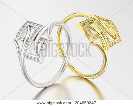 3D illustration two yellow gold and white gold or silver engagement decorative diamond ring with reflection and shadow on a grey background