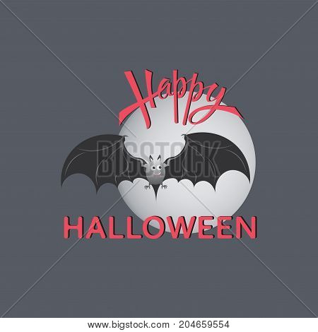 Bat. Full moon. Happy Halloween. Design of the message. Banner, poster. Vector inscriptions. Festive calligraphy with a banner, poster, greeting card, invitation to a party. Isolated illustration.