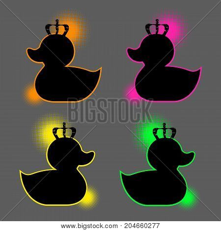 Vector stylish duck in the crown. Rubber duck sign beauty