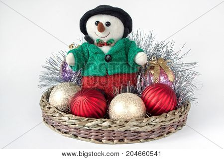 Decorations for the new year and christmas isolated on a white background. Traditional holidays.