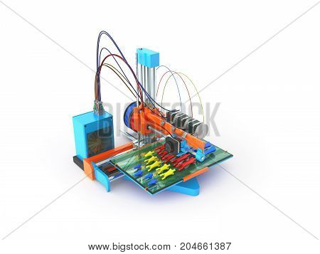 Concept Print Hand Prosthesis On 3D Printer 3D Rendering On White Background