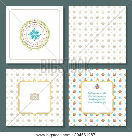 Christmas greeting card vector design and pattern background, with place for Merry Christmas holidays wish and family photo.