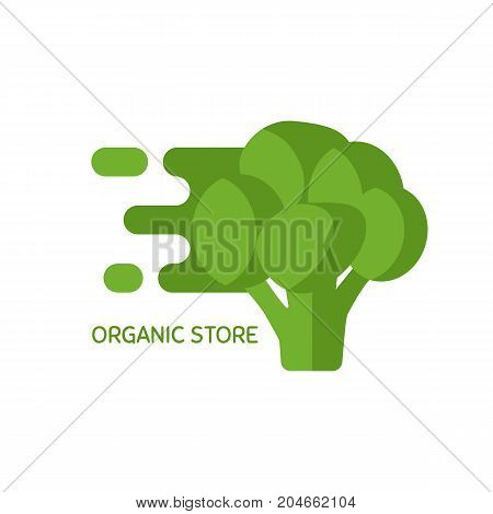 Vector logo for organic shop or market or product delivery service, minimal simple badge with fresh vegetables. Healthy organic eco vegetarian food logo design vector template.