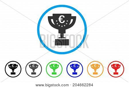 Euro Award Cup rounded icon. Style is a flat euro award cup gray symbol inside light blue circle with black, gray, green, blue, red, orange versions. Vector designed for web and software interfaces.
