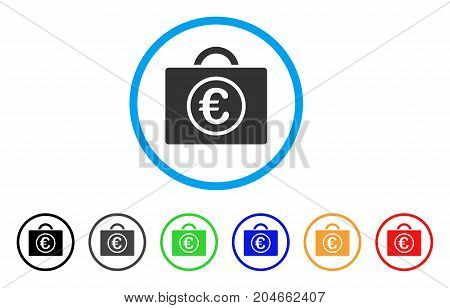 Euro Baggage rounded icon. Style is a flat euro baggage gray symbol inside light blue circle with black, gray, green, blue, red, orange variants. Vector designed for web and software interfaces.