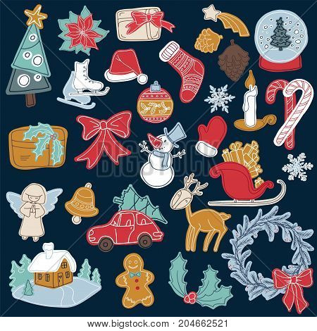 Christmas sticker elements set with gift box xmas tree deer snowman gingerbread cookie candle bell poinsettia flower sleigh wreath and other. 25 elements can be used for advent calendar
