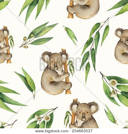Watercolor seamless pattern with eucalyptus leaves and Koala isolated on white background. Cute illustration design children's books, zoo and textiles .