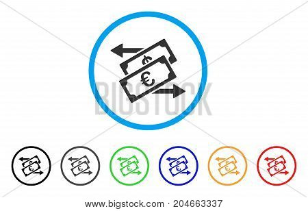 Euro Currency Exchange rounded icon. Style is a flat euro currency exchange gray symbol inside light blue circle with black, gray, green, blue, red, orange versions.