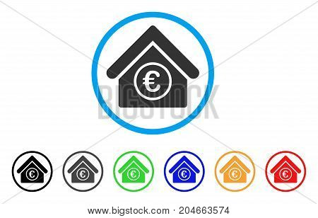Euro Financial Center rounded icon. Style is a flat euro financial center grey symbol inside light blue circle with black, gray, green, blue, red, orange variants.