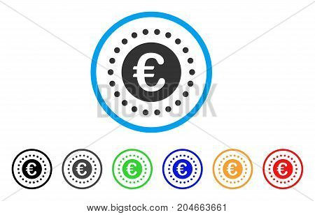 Euro Gold Coin rounded icon. Style is a flat euro gold coin gray symbol inside light blue circle with black, gray, green, blue, red, orange variants. Vector designed for web and software interfaces.