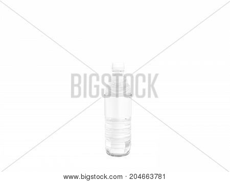 Concept Of A Small Plastic Bottle Of White 3D Rendering On A White Background No Shadow
