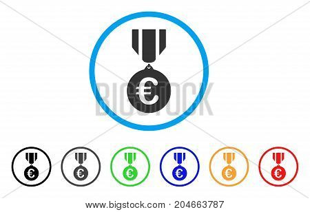 Euro Honor Medal rounded icon. Style is a flat euro honor medal gray symbol inside light blue circle with black, gray, green, blue, red, orange variants.