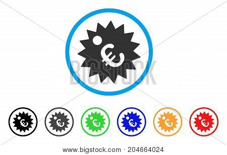 Euro Price Tag rounded icon. Style is a flat euro price tag grey symbol inside light blue circle with black, gray, green, blue, red, orange versions. Vector designed for web and software interfaces.