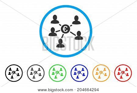 Euro Social Links rounded icon. Style is a flat euro social links gray symbol inside light blue circle with black, gray, green, blue, red, orange versions.