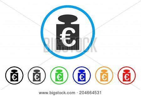 Euro Weight rounded icon. Style is a flat euro weight grey symbol inside light blue circle with black, gray, green, blue, red, orange color versions. Vector designed for web and software interfaces.