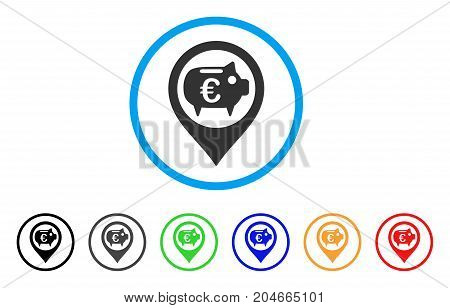 Euro Bank Pointer rounded icon. Style is a flat euro bank pointer grey symbol inside light blue circle with black, gray, green, blue, red, orange versions.