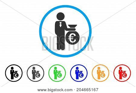 Euro Banker rounded icon. Style is a flat euro banker gray symbol inside light blue circle with black, gray, green, blue, red, orange variants. Vector designed for web and software interfaces.