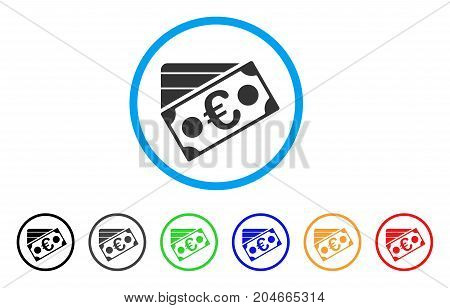 Euro Banknote And Credit Card rounded icon. Style is a flat euro banknote and credit card gray symbol inside light blue circle with black, gray, green, blue, red, orange versions.
