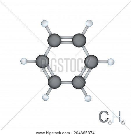 Benzene model molecule. Isolated on white background. 3D rendering illustration.