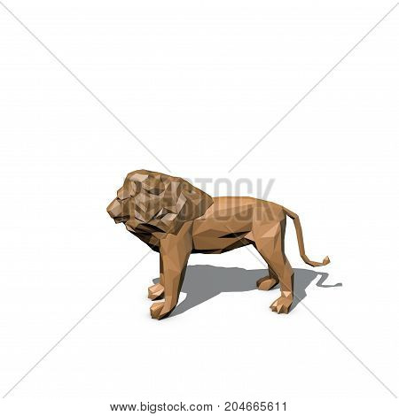 Polygonal lion. Isolated on white background.3D rendering illustration.