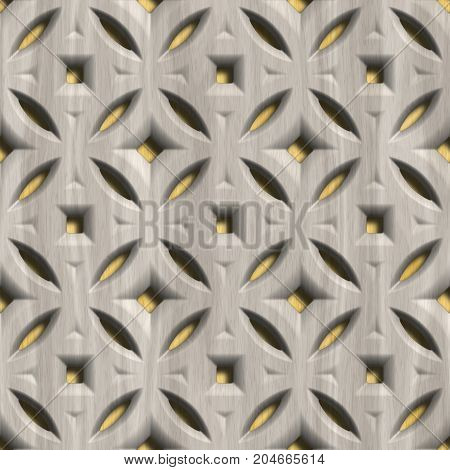 Ornamental wooden lattice on wood background.Seamless pattern.