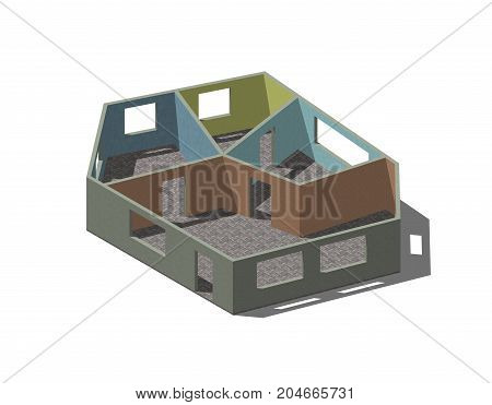 Empty room plan.Isolated on white background.3D rendering illustration.Isometric view.