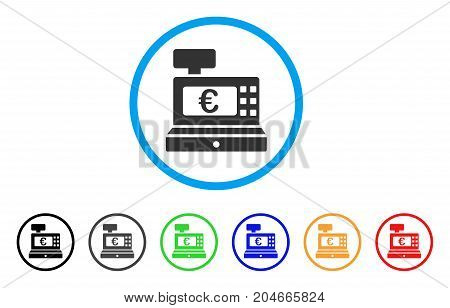 Euro Cashbox rounded icon. Style is a flat euro cashbox grey symbol inside light blue circle with black, gray, green, blue, red, orange variants. Vector designed for web and software interfaces.