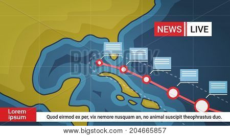 Life News About Hurricane Weather Broadcast Storm Or Tornado Image Coming To Usa Coast Concept Vector Illustration