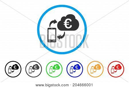 Euro Cloud Banking rounded icon. Style is a flat euro cloud banking grey symbol inside light blue circle with black, gray, green, blue, red, orange color versions.