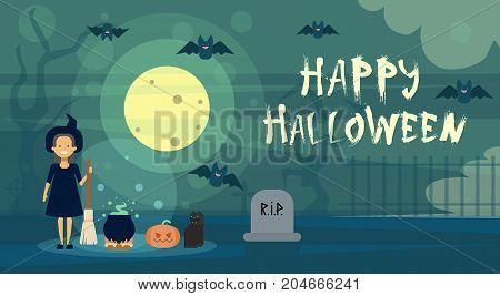 Happy Halloween Greeting Card Witch At Night On Cemetery Graveyard With Pumpkin Banner Flat Vector Illustration