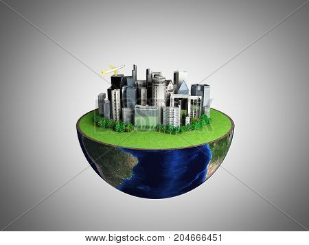 Urbanization Concept With Globe And City On Abstract Grey Background 3D Rendering