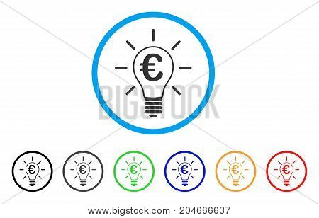 Euro Idea Bulb rounded icon. Style is a flat euro idea bulb grey symbol inside light blue circle with black, gray, green, blue, red, orange versions. Vector designed for web and software interfaces.