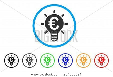 Euro Innovation rounded icon. Style is a flat euro innovation grey symbol inside light blue circle with black, gray, green, blue, red, orange versions. Vector designed for web and software interfaces.