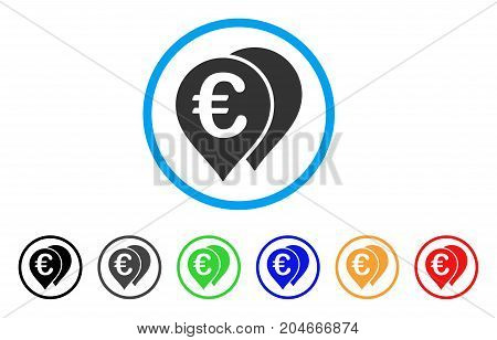 Euro Map Markers rounded icon. Style is a flat euro map markers gray symbol inside light blue circle with black, gray, green, blue, red, orange variants.