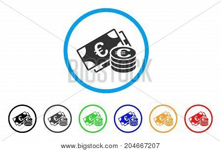 Euro Money rounded icon. Style is a flat euro money grey symbol inside light blue circle with black, gray, green, blue, red, orange variants. Vector designed for web and software interfaces.