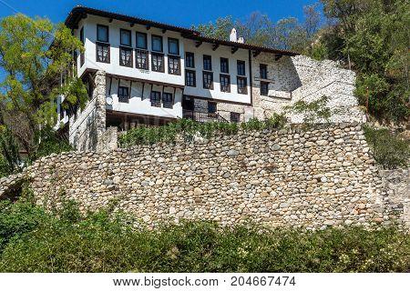 MELNIK, BULGARIA - SEPTEMBER 7, 2017:  Panorama with Old houses in town of Melnik, Blagoevgrad region, Bulgaria