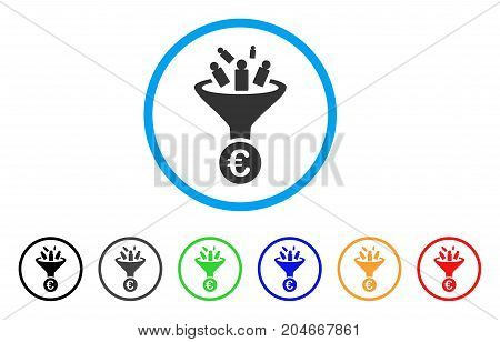 Euro Sale Conversion rounded icon. Style is a flat euro sale conversion gray symbol inside light blue circle with black, gray, green, blue, red, orange versions.