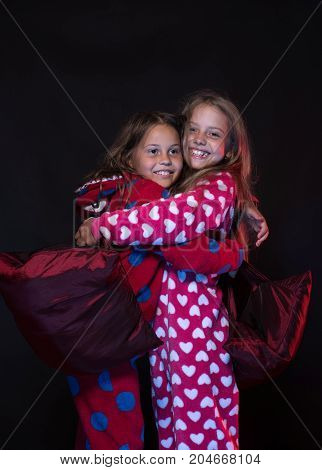 Pjs Party For Children: Hugging Time. Childhood And Funtime Concept