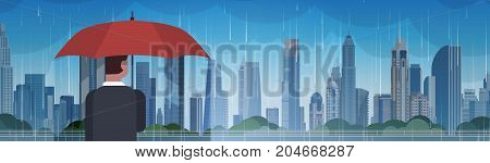 Man Holding Umbrella Look At Storm In City Huge Rain Background Hurricane Tornado In Town Natural Disaster Concept Vector Illustration