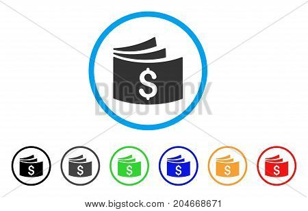 Checkbook rounded icon. Style is a flat checkbook grey symbol inside light blue circle with black, gray, green, blue, red, orange color versions. Vector designed for web and software interfaces.