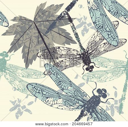 Beautiful seamless pattern with dragonflies maple leaves and decorative elements. Template can be used for design fabric, covers and more designs. Vector image.
