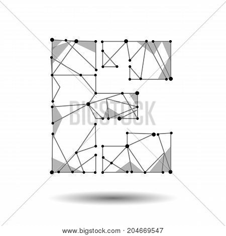 Low poly letter E English Latin Cyrillic. Polygonal triangle connect dot point line. Black white 3d structure model font type vector logo illustration art
