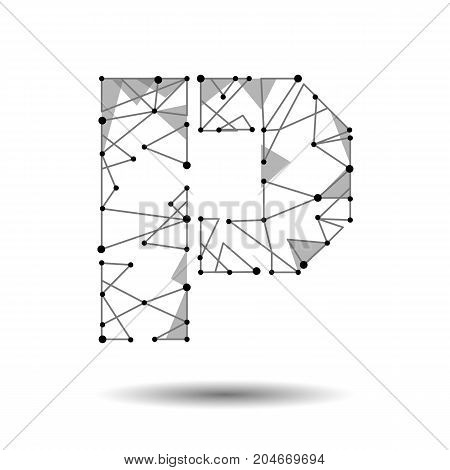 Low poly letter P English Latin Cyrillic. Polygonal triangle connect dot point line. Black white 3d structure model font type vector logo illustration art