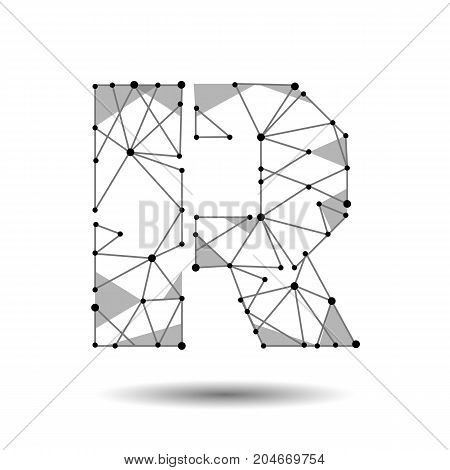 Low poly letter R English Latin. Polygonal triangle connect dot point line. Black white 3d structure model font type vector logo illustration art