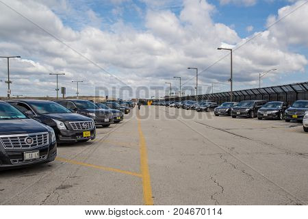 Chicago,IL,USA,April 6 2017:Limousine Parking Lot at O'Hare International Airport,for editorial use only