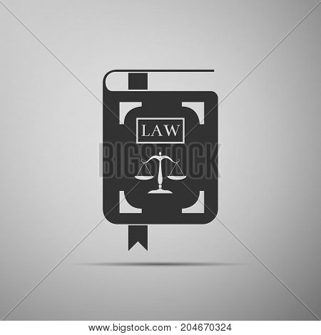 Law book statute book with scales of justice icon isolated on grey background. Flat design. Vector Illustration